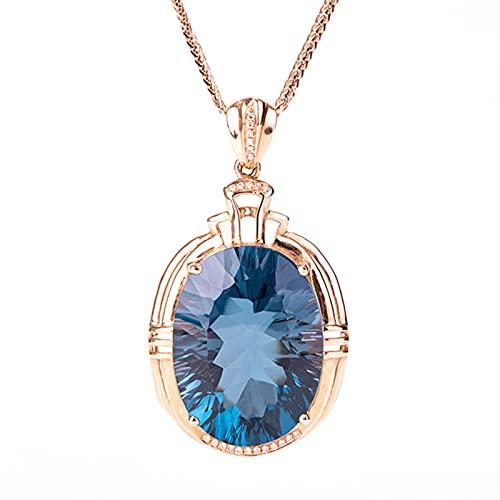CHENLING Vintage azul cristal topacio aguamarina piedras preciosas diamantes mujer colgante collares 18k oro rosa color gargantilla joyería bijoux regalo