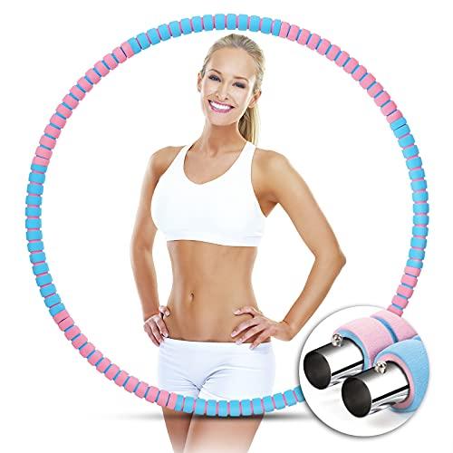 Fitness Hoop Reifen Erwachsene, Einstellbares Gewicht Reifen zur Gewichtsreduktion, 8 Segmente Abnehmbarer Verdicktes Schaumstoff Edelstahlkern Gewichten Hoop Für Abnehmen, Bauchformung (Pink & Blau)