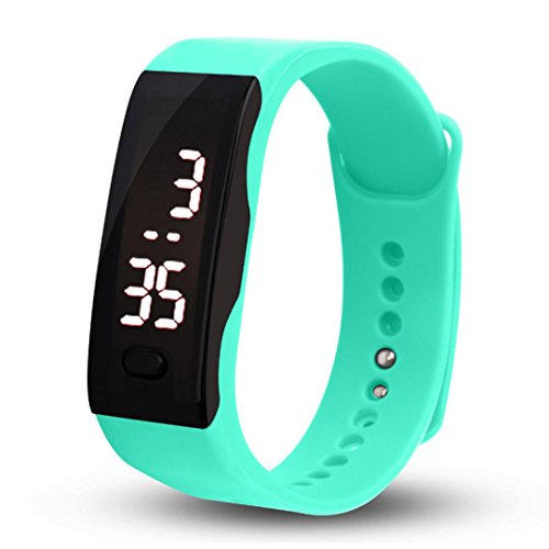 Malltop LED Watch, Unisex Rubber Bracelet White LED Digital Display Sports Wrist Gift Watch (Mint Green)