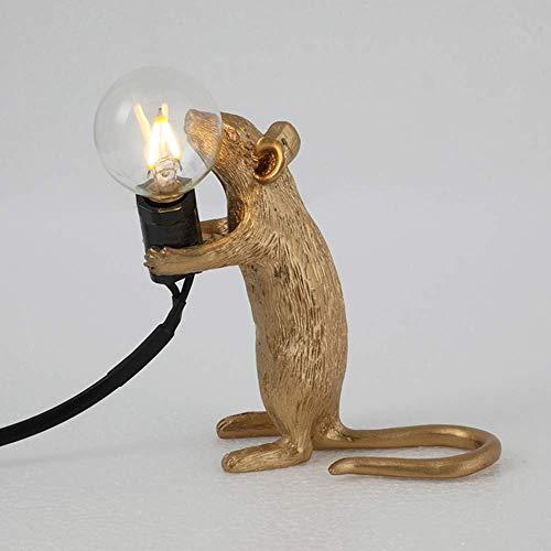 Lámparas de mesa lámpara de mesa forma de ratón resina escritorio luz lámpara de lectura, lámpara de noche lámpara de noche luz de noche Decoración de la habitación E12 Base (Sentado blanco) Lámpara-1