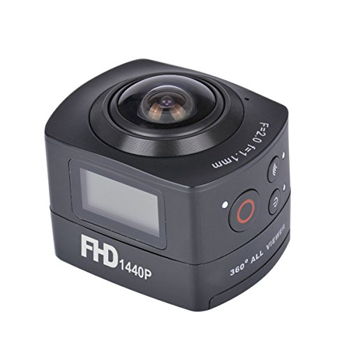 AMKOV 360 Degree Panoramic Fish-Eye Camera 1440P HD Action Camera 8MP WiFi Remote Control Digital Camera Waterproof 30M Sports DV Hiking,Biking,Diving