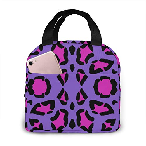 Antfeagor Portable Lunch Tote Bag Cute Leopard Print Hot Pink On Purple Lunch Bag Insulated Cooler Thermal Reusable Bag Lunch Box Handbag Bags for Women/Picnic/Boating/Beach/Fishing/Work