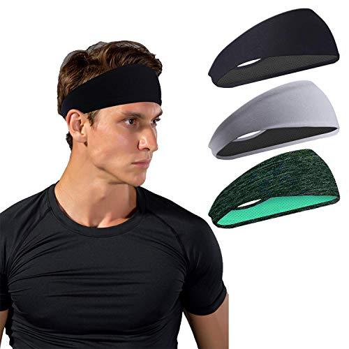 Sport Stirnbänder für Herren und Damen - Schweißband & Sport Stirnband Feuchtigkeitstransport Workout Schweißbänder für Laufen, Cross Training, Yoga und Fahrradhelm (3 Packs)