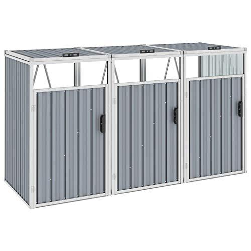 Tidyard Triple Garbage Bin Shed Outdoor Bin Shed Grey 213x81x121 cm Steel