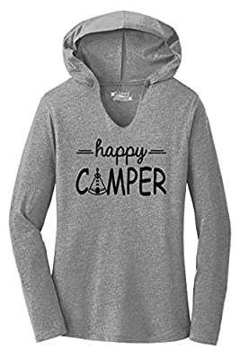 Ladies Hoodie Shirt Happy Camper Cute Hiking Camping Trip Graphic Tee Grey Frost XL