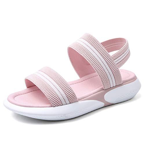 Ladies Sandals Summer Flat Sandals All-Match Sports Student Soft Bottom Beach Sandals Women's Fashion Flat Bottom Muffin Women's Shoes,Pink,36
