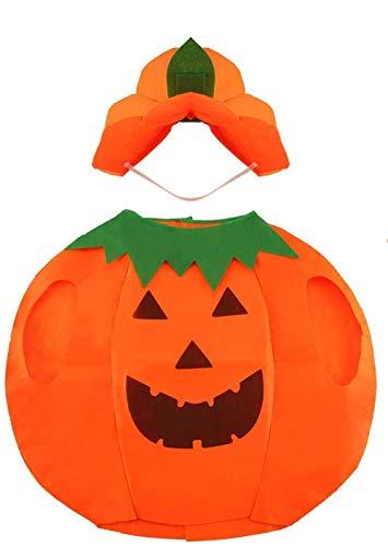 Disfraz de Calabaza de Halloween Ropa Elegante para Niños Niñas Fiesta de Halloween Decoración de Cosplay (Sombrero de Ropa)