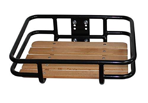 P4B | Vorderrad GEPÄCKTRÄGER mit Ladefläche (ca. 34,1 x 41,3 cm) | Bequemer Transport des Gepäcks | Gepäckträger für 24-28 Zoll | Mit hochwertigem Buchenholz aus Europa