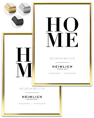 Heimlich® Doppelpack (2 STK.) Bilderrahmen DIN A4 Gold | Bilderrahmen 21x30 Gold mit bruchsicherem Plexi-Glas | Aluminium