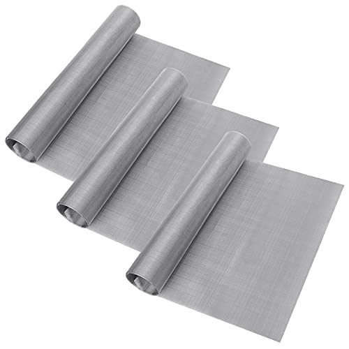 3 Rolls 304 Stainless Steel Woven Wire 120 Mesh 12'X 40' Fine Screen Mesh Filter Screen Sheet Steel Woven Mesh Filtration Cloth for Filter Mesh