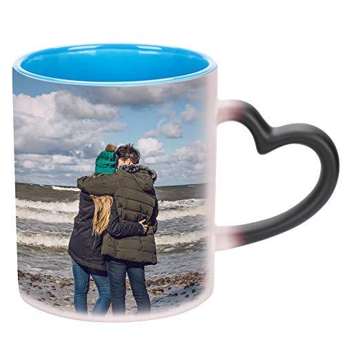 Tasse mit Foto selbst gestalten Personalisierte Fototasse Kinder Familie Liebespaar Zaubertasse mit Foto Bedrucken Magische Kaffeetasse Individuelles Geschenk für Weihnachten Valentinstag Geburtstag