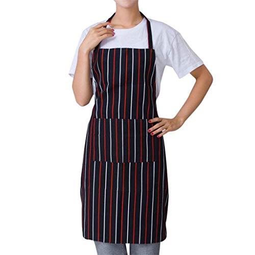 Dragonaur Homme Femme rayé Plaid Traiteur Chef Waiter Barre longue Taille Tablier avec Poche Taille M rouge/rayé