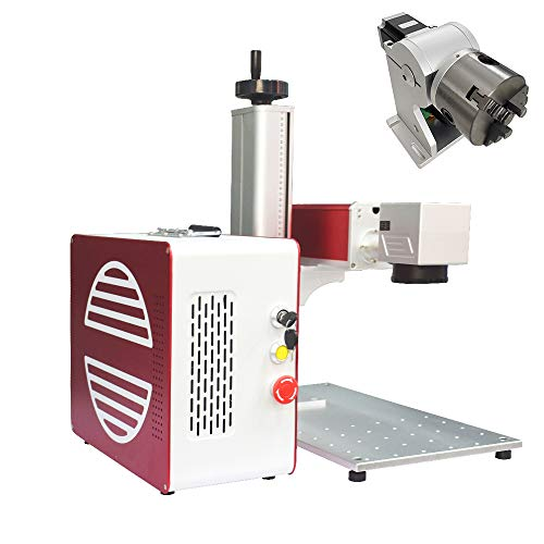 JPT LP-E 50W Fiber Laser Engraver 110×110mm Lens and D80 Rotary Attachment Laser Engraving Machine Laser Marking Machine for Metal Polymers Jewellery Firearms