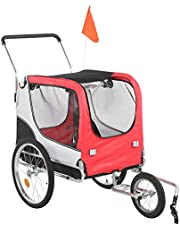 Remolques para bicicletas.Oxford Fabric 2 en 1 Diseño Bicicleta giratoria de 360 grados Remolques para bicicletas Carrito para cochecito de mascotas Multifuncional Espacio interno súper grande