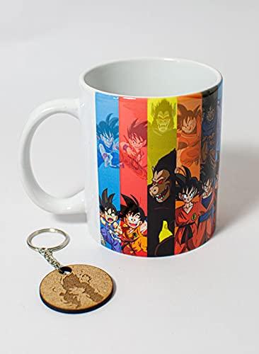 TusPersonalizables.com Taza + Llavero Dragon Ball (Goku Transformaciones)