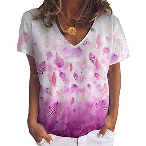 Camiseta de Verano de Manga Corta con Cuello en V para Mujer Top Casual Cómodo Top Suelto Señoras Estampadas Sueltas Irregular Camiseta Suelta de Manga Corta Camiseta Casual de Moda Chaleco Pullover