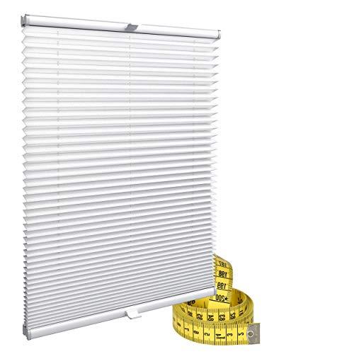 Gardinen21 Klemmfix Plissee nach Maß ohne Bohren | Jalousien Rollo mit Klemmträger | Sonnenschutz und Sichtschutz | Maßgefertige Fenster & Türen Rollos in Weiß