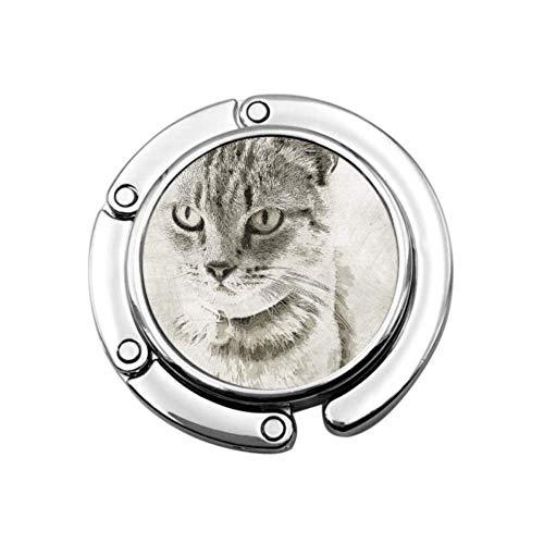 Gato Mascota Animal doméstico Mamífero Retrato Gatito Bolso Soporte de Escritorio Colgador de Bolso de