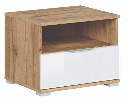 Mesa auxiliar de noche para dormitorio, sala de estar, pasillo Zele con cajón y compartimento abierto, color roble Wotan y blanco brillante, 50 x 38,5 x 41 cm