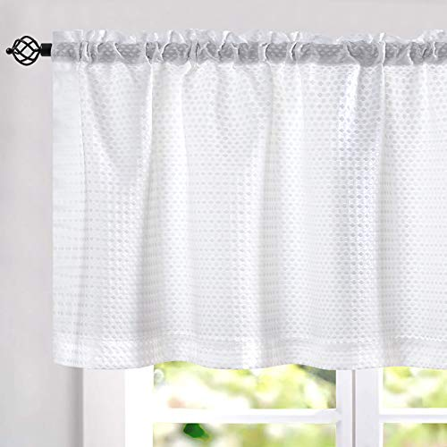 """White Waffle Weave Textured Valance for Kitchen Water Repellent Bathroom Half Window Curtains 60""""x 18"""" 1 Pane"""