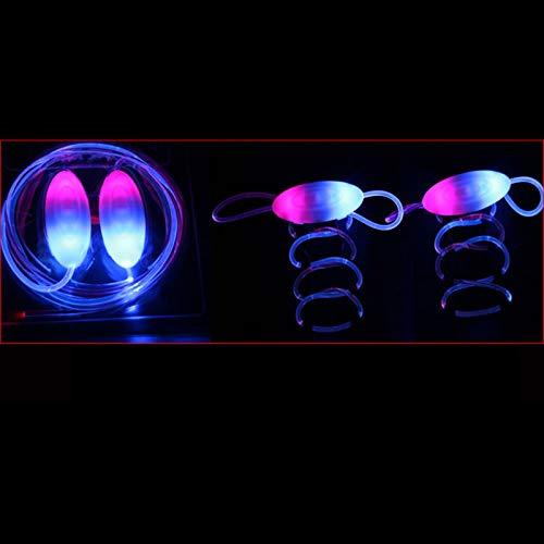 Benedict 1 par de moda LED luminoso cordón de zapatos accesorios de juguete brillan en la oscuridad mejorar la capacidad de manipulación regalo juguetes, rosa y azul (Negro) - 2xw6qs4tj7mr6uq6D08