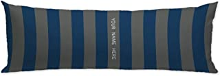 GUGLILI Personalized Navy Blue and Gray Rugby Stripes with Custom Name Body Pillow Cover Two Sides Print Decorative Cushion Cover Pillowcase Machine Washable with Zipper 20x54 Inch