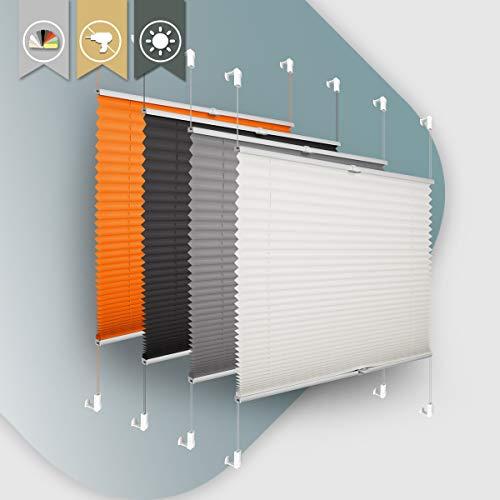 Plisseerollo ohne Bohren klemmfix Jalousie Sonnenschutz Easyfix Faltrollo Crushed Optik Lichtdurchlässig Rollo für Fenster & Tür Beige 75x120cm(BXH)