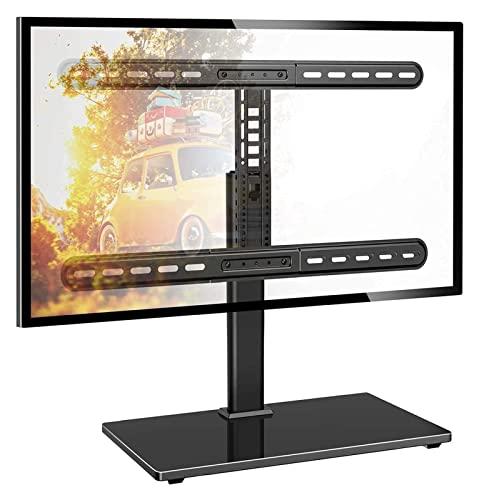 WERYU Soporte De TV Giratorio para TV De Pantalla Plana LCD OLED DeAltura conBase De Vidrio Templado Resistente (Negro 15.74X10.24X16.93)