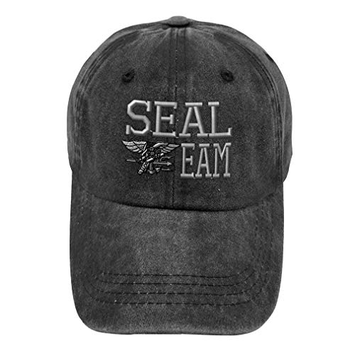 Vintage Washed Hat Seal Team Navy C Embroidery Cotton Dad Hats for Men & Women Buckle Closure Black