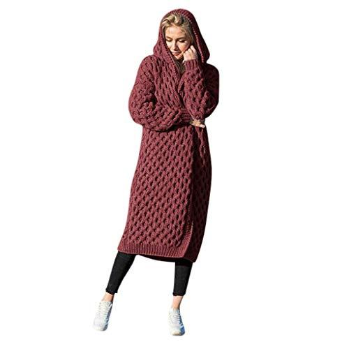 Floweworld Damen Strickjacke Winter Warme Mode Einfarbig Langarm Pullover Mantel Lässig Mit Kapuze Mantel Mit Kapuze Gestrickt Outwear