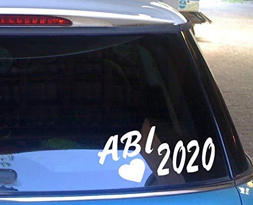 cartattoo4you® AB-02265 | ABI 2020 - mit Herz | K-Serie | 20 x 10 cm | Farbe weiß glänzend|in 23 Farben erhältlich Autoaufkleber Aufkleber Car Sticker Heckscheibe Abitur Spruch,Versand frei