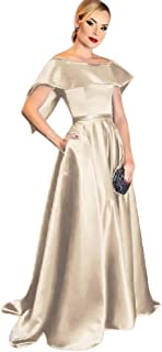 Jonlyc Elegant A Line Off The Shoulder Satin Long Prom Dresses with Pockets Formal Evening Gowns