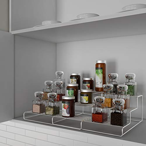 Lavish Home Spice Rack-Adjustable, Expandable 3 Tier Organizer for Counter Cabinet, Pantry-Storage Shelves Seasonings, Tea, Canned Food and More