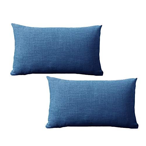 yokamira Funda Almohada de Lino, Juego de 2 Funda de Almohada Decorativa para Sala de Estar Sofás Dormitorio Camas Coche, 30X50cm, Azul