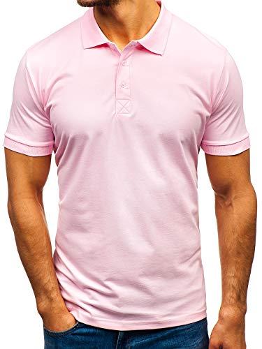 BOLF Hombre Camiseta de Manga Corta Polo Básica Unicolor Ajustada Slim Fit 3C3