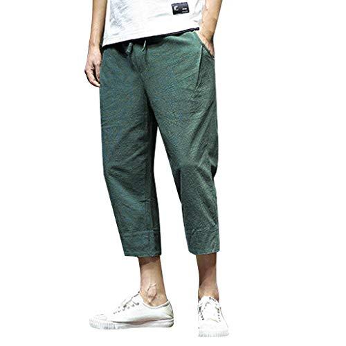FIRMON-Jeans 60er Jahre Jogginghose für Herren Sommer Mode Freizeit Reine Farbe Loose Wadenlang Haren Lange Hose Gr. 31-35, Grüne 50er Hose