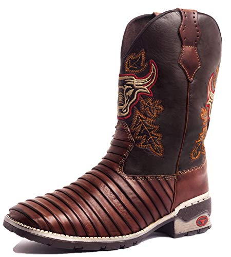 Bota Texana Country Masculina Cano Longo Casco Tatu Marrom 40