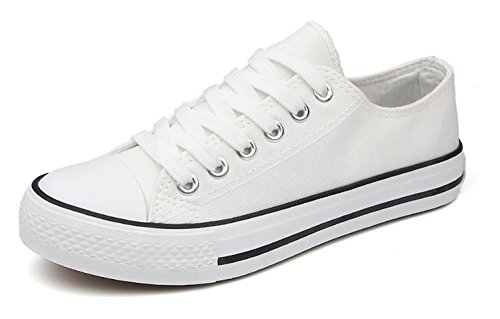 Z Women Vulcanize Shoes White Canvas Shoes Woman Sneakers Unisex lace-up Breathable Casual Walking Shoes Size 35-44 White 1 8.5