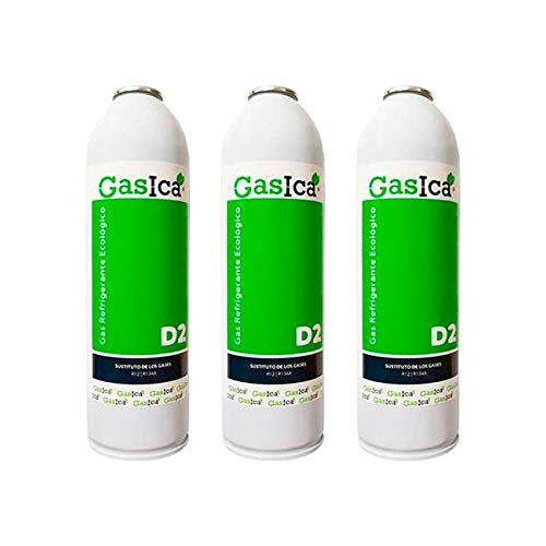 Todoelectrico - Pack 3 Botellas Gas refrigerante orgánico GASICA D2 SUSTITUTO R12/R134a 311.8GR para Aire Acondicionado