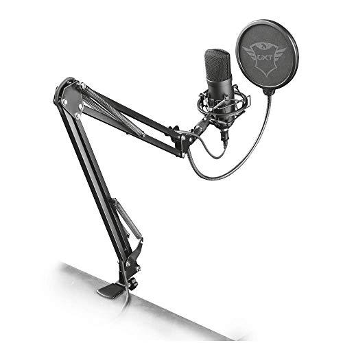 Trust Gaming GXT 252 Emita Plus Microfono USB Professionale a Condensatore con Braccio Regolabile per PC per Streaming, Nero