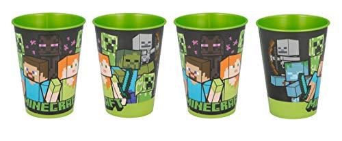 Theonoi 4 vasos infantiles de 260 ml/a elegir: Cars - PawPatrol - Avengers - Blaze/vaso de plástico sin BPA - Regalo para niños (Diseño Minecraft)
