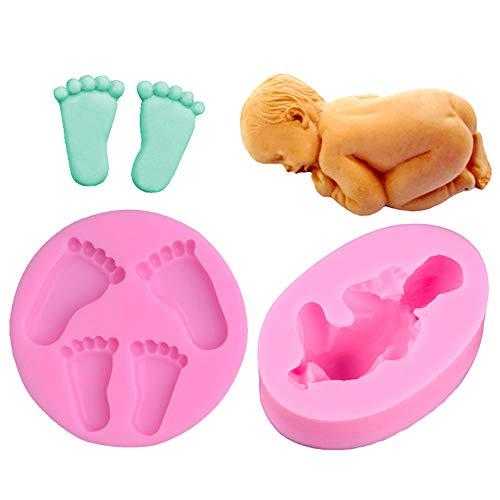 Wenxiaw Baby Fußabdruck Silikonformen Schlafende Baby Form DIY Silikonform 3D-Silikonform für Fondant, Schokolade, Cake Design, Dekoration von Kuchen, Backen Dekoration, 2 Stile (Rosa)