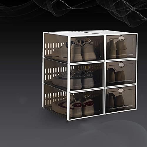 XYCSM 6 Cajas de Alenamiento de Zapatos Apilables, Caja de Zapatos Plegable Plegable Plástica para Armarios, Estante de Zapatos de Entrada, Dormitorio, Sala de Estar, a 33.7X23.3X15