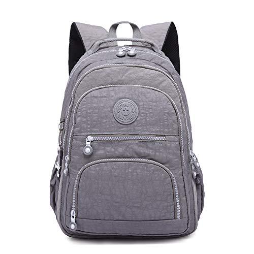 Gurscour Lightweight Nylon Backpack SchoolBag 17 Inch Laptop Waterproof Backpack Rucksack Travel Casual Daypack Business Bag 989-grey