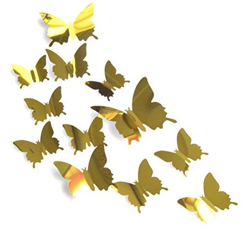 Adesivos de mural de borboleta da Winomo, 12 peças, adesivos de geladeira de parede para decoração de casa (ouro)