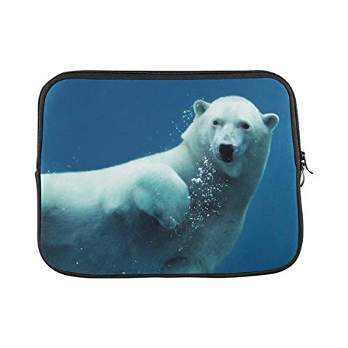 INTERESTPRINT Laptop Water Resistant Sleeve Case Cover Swimming Polar Bear Underwater Notebook Neoprene Carrying Bag 11 Inch 11.6 Inch