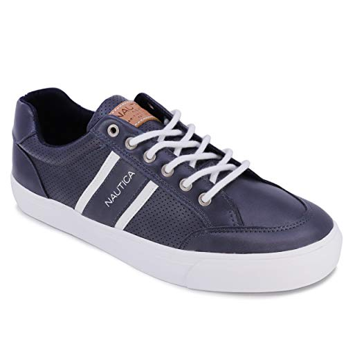 Nautica Men's Lace-Up Boat Shoe, Casual Loafer, Fashion Sneaker, Low Top Active-Hull-Navy Tumbled-9.5