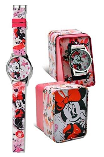 HOVUK® Reloj de pulsera analógico de cuarzo para niños con correa de piel y diseño de Minnie Mouse, multicolor utilizable para unisex de 4 años (reloj de pulsera Minnie Mouse WD21203)