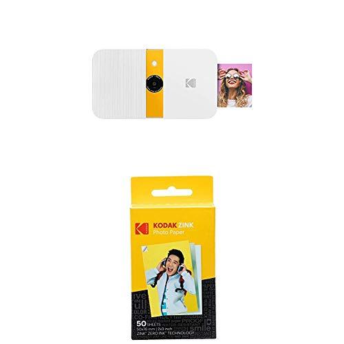 KODAK Smile Cámara Digital de impresión instantánea, Blanco/Amarillo + Paquete de 50 Hojas