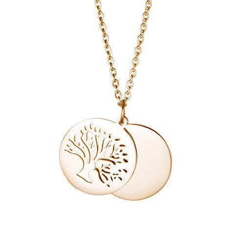 Gravado Kette aus Gold-Edelstahl mit Kreis und Baumanhänger - Lebensbaum - Karabinerverschluss - Damen Schmuck - inkl. Geschenkbox - Länge ca. 50 cm